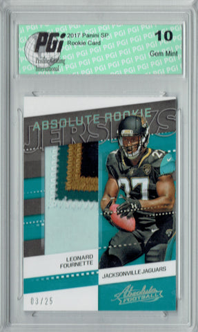 Leonard Fournette 2017 Absolute #36 4 Color Patch 25 Made Rookie Card PGI 10