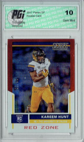 Kareem Hunt 2017 Score #423 Red Zone Refractor  #18/20 Rookie Card PGI 10