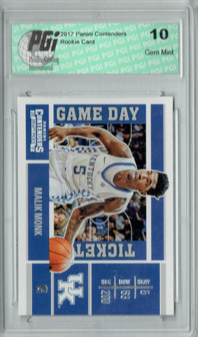 Malik Monk 2017 Contenders #4 Game Day Tickets Rookie Card PGI 10