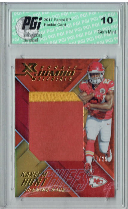 Kareem Hunt 2017 Panini XR #RJM-KH Jumbo Patch 25 Made Rookie Card PGI 10