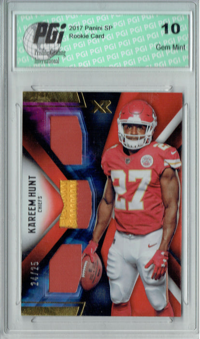 Kareem Hunt 2017 Panini XR #RTTM-KH 2 Color Patch 25 Made Rookie Card PGI 10