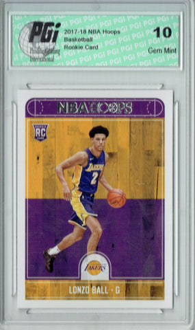Lonzo Ball 2017-2018 Hoops #252 NBA Rookie Card PGI 10