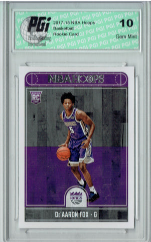 De'Aaron Fox 2017-2018 Hoops #255 NBA Rookie Card PGI 10