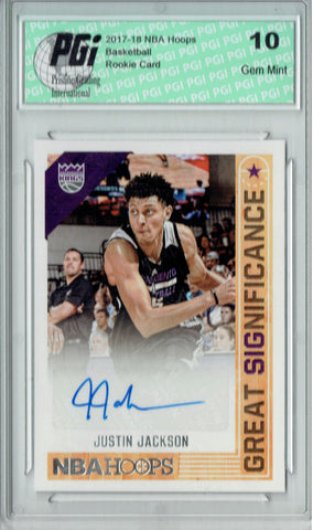Justin Jackson 2017 Hoops #GS-JJC Great Significance Auto Rookie Card PGI 10