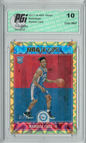 Markelle Fultz 2017 Hoops #251 Orange Explosion 75 Made Rookie Card PGI 10