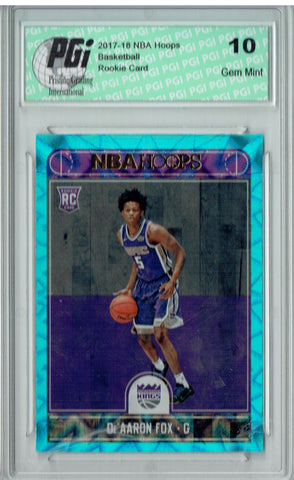 De'Aaron Fox 2017 Hoops #255 Teal Explosion Rookie Card PGI 10