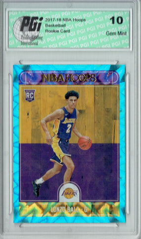 Lonzo Ball 2017 Hoops #252 Teal Explosion Rookie Card PGI 10