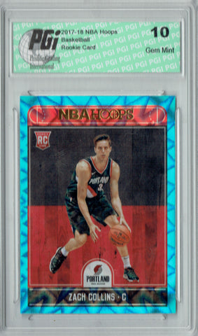 Zach Collins 2017 Hoops #260 Teal Explosion Rookie Card PGI 10