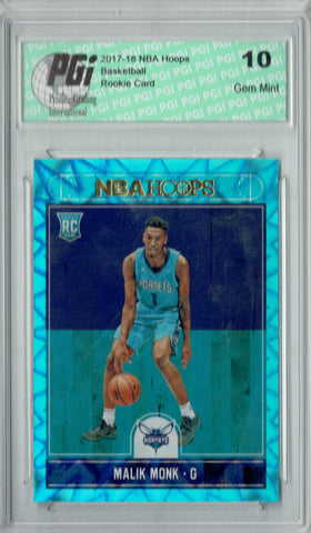 Malik Monk 2017 Hoops #261 Teal Explosion Rookie Card PGI 10