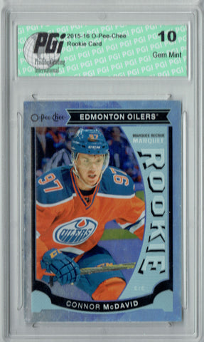 Connor McDavid 2015 O-Pee-Chee Update #U11 Rainbow Foil SP Rookie Card PGI 10