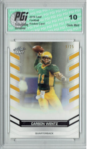 Carson Wentz 2016 Leaf Draft Gold #2 Only 25 Made Rookie Card PGI 10