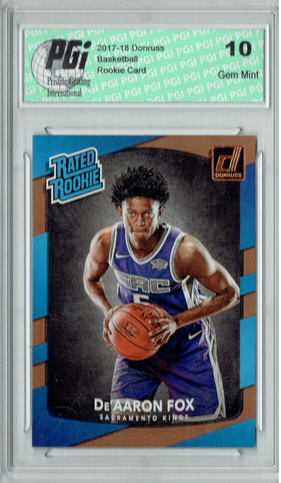 De'Aaron Fox 2017-2018 Donruss #196 NBA Rated Rookie Card PGI 10