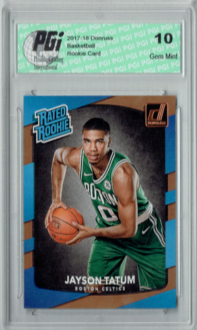 Jayson Tatum 2017-2018 Donruss #198 NBA Rated Rookie Card PGI 10