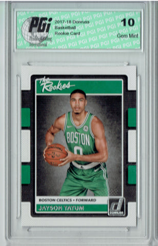 Jayson Tatum 2017 Donruss #3 The Rookies SP Rookie Card PGI 10