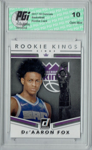 De'Aaron Fox 2017 Donruss #5 Rookie Kings SSP Rookie Card PGI 10