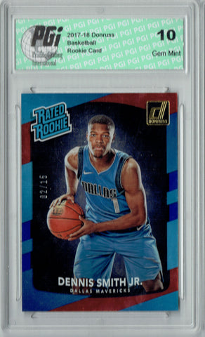 Dennis Smith Jr. 2017 Donruss #192 Blue Laser SP #2/15 Made Rookie Card PGI 10