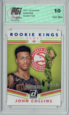 John Collins 2017 Donruss #19 Kings Press Proof 125 Made Rookie Card PGI 10