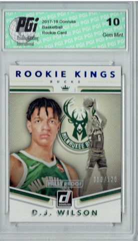 D.J. Wilson 2017 Donruss #17 Kings Press Proof 125 Made Rookie Card PGI 10
