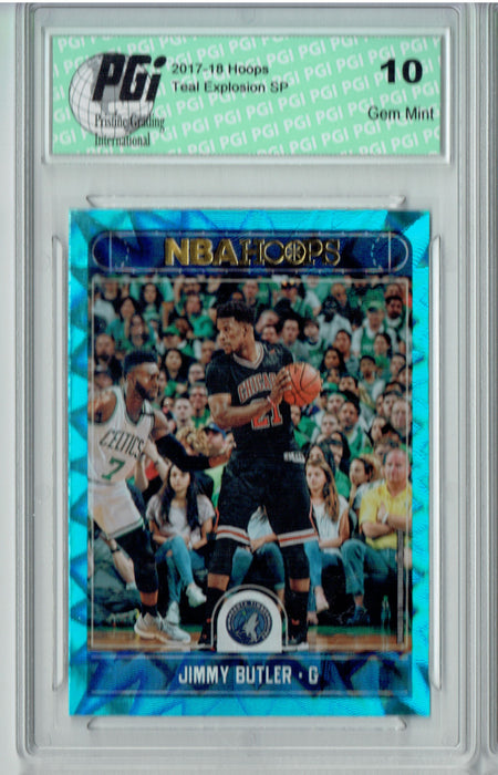 Jimmy Butler 2017 Hoops #18 Teal Explosion SP Card PGI 10