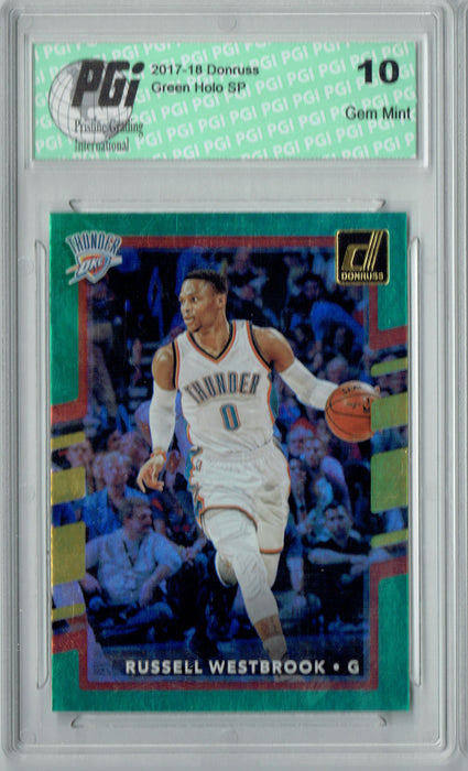 Russell Westbrook 2017 Donruss #101 Green Holo Foil SP Card PGI 10