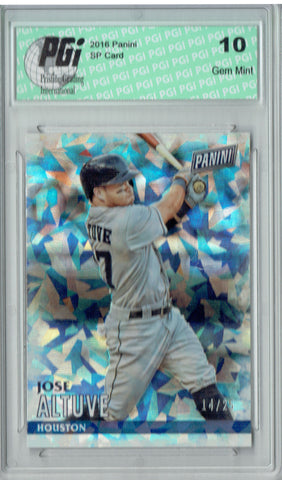 Jose Altuve 2016 Panini Cracked Ice #14 Only 25 Made Card PGI 10