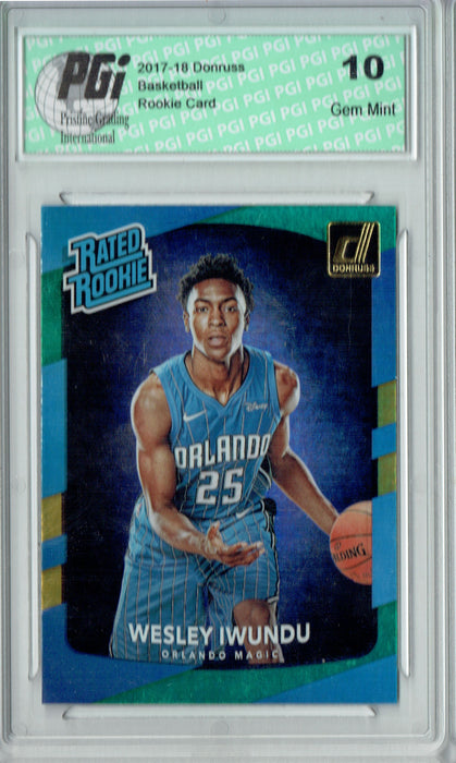 Wesley Iwundu 2017 Donruss #168 Blue Green Laser SP Rookie Card PGI 10