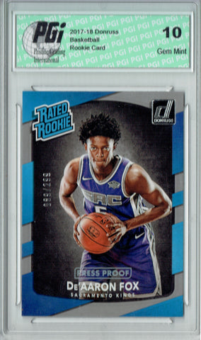 De'Aaron Fox 2017 Donruss #196 Press Proof 299 Made Rookie Card PGI 10