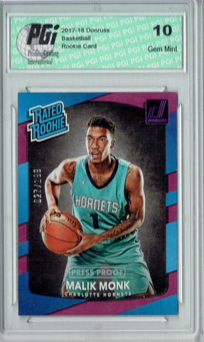 Malik Monk 2017 Donruss #190 Purple SP 199 Made Rookie Card PGI 10