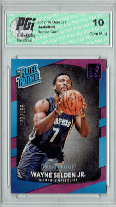 Wayne Selden Jr. 2017 Donruss #153 Purple SP 199 Made Rookie Card PGI 10