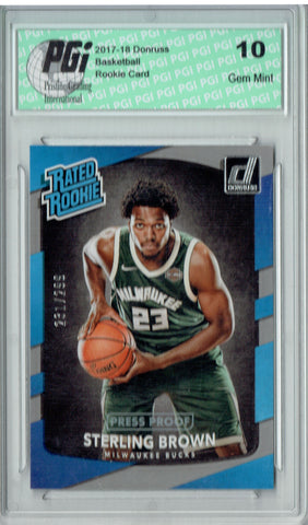 Sterling Brown 2017 Donruss #165 Press Proof 299 Made Rookie Card PGI 10
