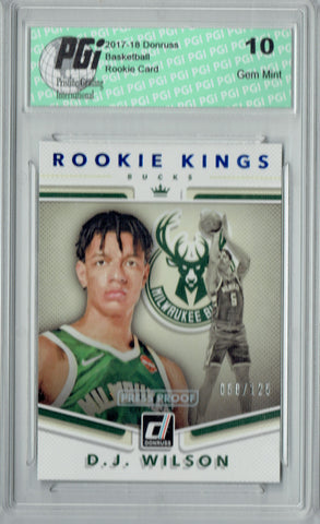 D.J. Wilson 2017 Donruss #17 Kings 125 Made Rookie Card PGI 10