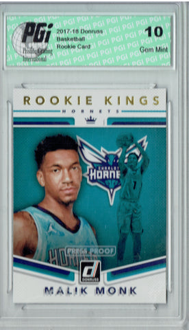 Malik Monk 2017 Donruss #11 Kings Press Proof Rookie Card PGI 10