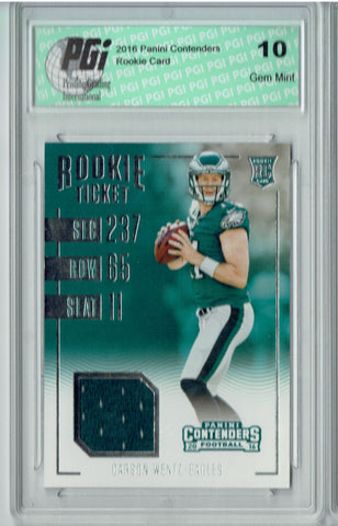 Carson Wentz 2016 Contenders #2 Patch SP, Standing Rookie Card PGI 10