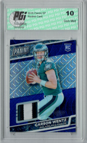 Carson Wentz 2016 Panini #32 3 Color Patch #20/25 Rookie Card PGI 10