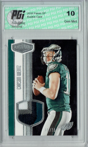 Carson Wentz 2016 Panini Plates Patches #RMCW 4 clr 75 Made Rookie Card PGI 10
