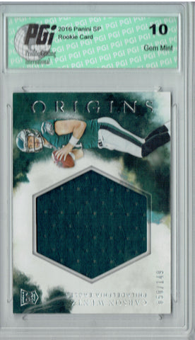 Carson Wentz 2016 Panini Origins #RJJ-CW Patch 149 Made Rookie Card PGI 10