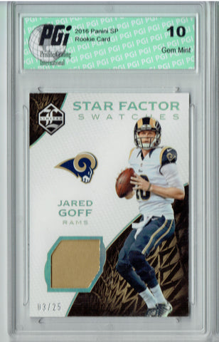Jared Goff 2016 Limited #12 Star Factor 25 Made Rookie Card PGI 10