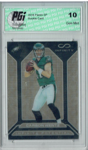 Carson Wentz 2016 Panini Infiniti #IP-CW Gold SP #2/8 Made Rookie Card PGI 10