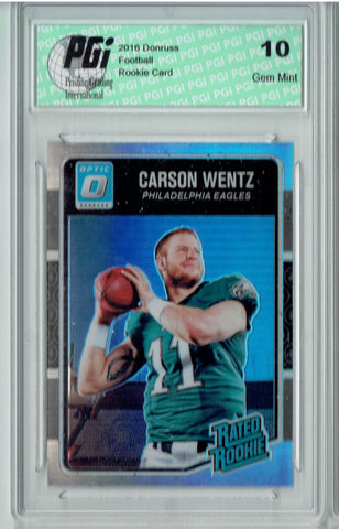 Carson  Wentz 2016 Donruss Optic #156 Refractor SP Rookie Card PGI 10