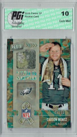 Carson Wentz 2016 Panini #20 Camo Ice, 25 Made Rookie Card PGI 10