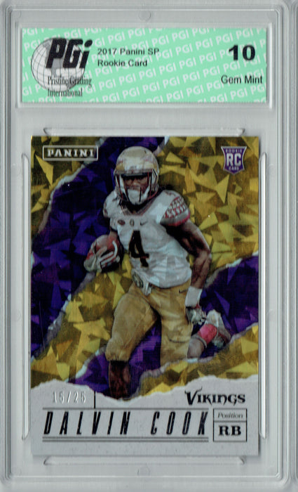Dalvin Cook 2017 Panini #38 Cracked Ice 25 Made Rookie Card PGI 10