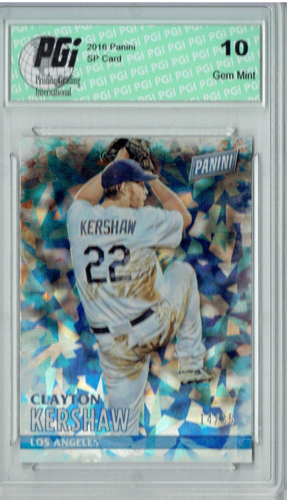 Clayton Kershaw 2016 Panini #15 Cracked Ice SP, Only 25 Made Card PGI 10