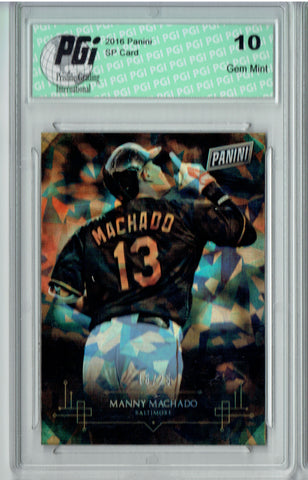 Manny Machado 2016 Panini #24 Cracked Ice SP, Only 25 Made Card PGI 10