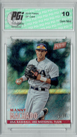 Manny Machado 2016 Panini #25 Shimmer SP, #6/10 Ever Made Card PGI 10