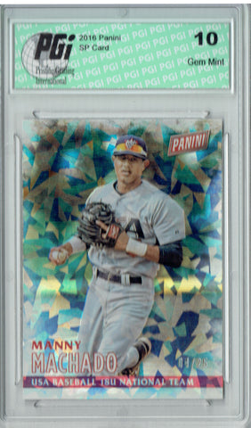 Manny Machado 2016 Panini #25 Cracked Ice SP, Only 25 Made Card PGI 10