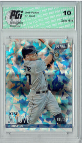 Jose Altuve 2016 Panini #14 Cracked Ice SP, Only 25 Made Card PGI 10