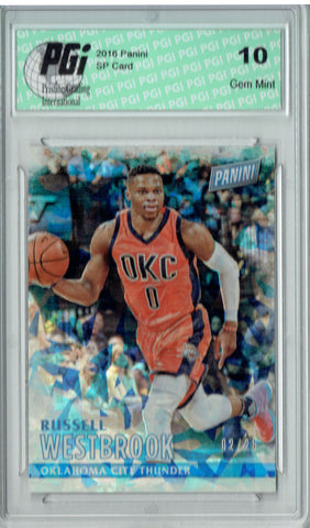 Russell Westbrook 2016 Panini #9 Cracked Ice SP, Only 25 Made Card PGI 10