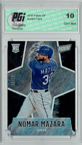 Nomar Mazara 2016 Panini #61 Glitter SP, 10 Made Rookie Card PGI 10