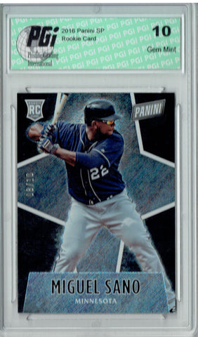 Miguel Sano 2016 Panini #65 Glitter SP, 10 Made Rookie Card PGI 10