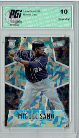Miguel Sano 2016 Panini #65 Cracked Ice, 25 Made Rookie Card PGI 10